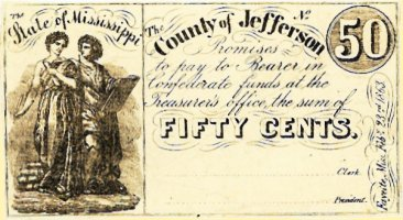 1863 Jefferson County, Mississippi 50 cent note