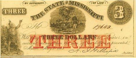 1864 Mississippi $3