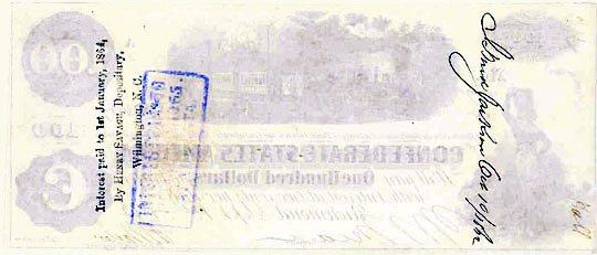 1862 Confederate $100 (reverse)