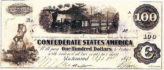1862 Confederate $100