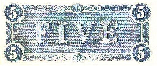 1864 Confederate $5 (reverse)