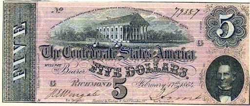 1864 Confederate $5