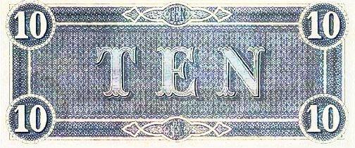 1864 Confederate $10 (reverse)