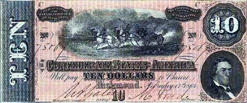 1864 Confederate $10