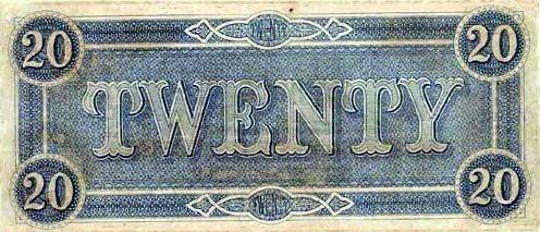 1864 Confederate $20 (reverse)