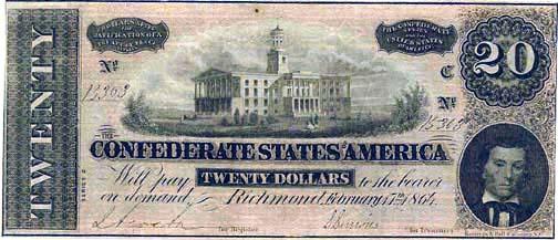 1864 Confederate $20