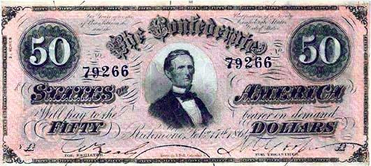 1864 Confederate $50