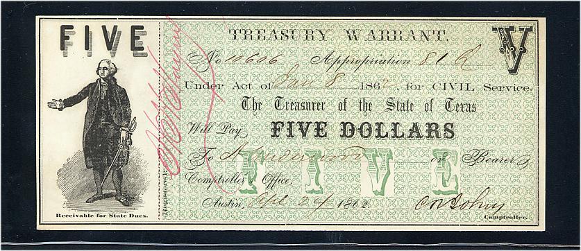 1862 Texas $5