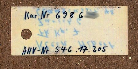 Swiss K31 rifle tag, side 1