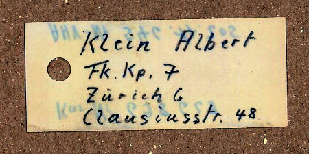 Swiss K31 rifle tag, side 2